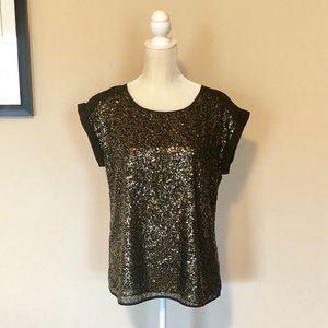 Gold Sequin Black Top Blouse Express